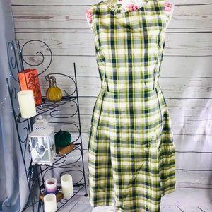 Brooks brother 6 green/cream plaid dress